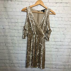 Forever 21 cold shoulder crushed velvet dress